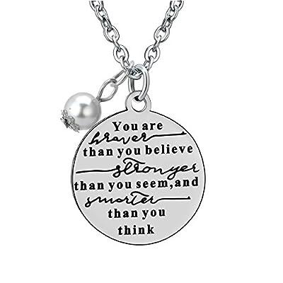 Stainless Steel You're Braver Stronger Smarter Inspirational Pendant Neckalce Gift for Women Men