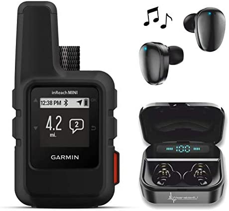 Garmin InReach Mini, Lightweight and Compact Handheld Iridium Satellite Communicator and Wearable4U Black Earbuds Ultimate Charging Power Bank Case Bundle Black