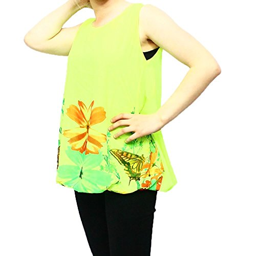 Top sin mangas holgadas de señoras brillantemente coloreado Amarillo