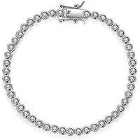 CZ Tennis 18K Rhodium Plated Round Cut Bezel Setting Bracelets for Women