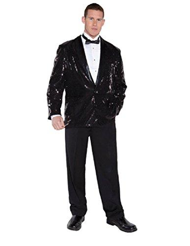 Underwraps Men's Sequin Jacket, Black, One Size (Secret Agent Tuxedo Adult Mens Costume)