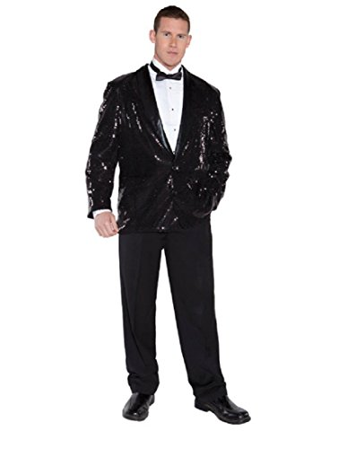 Underwraps Men's Sequin Jacket, Black, One Size