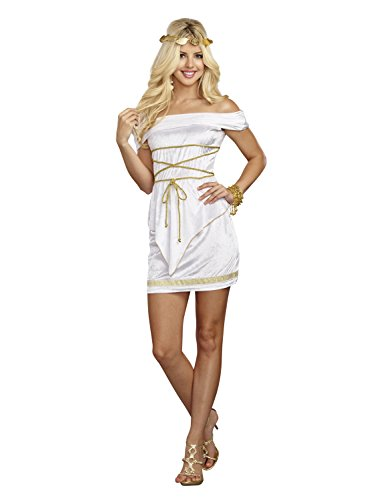 Alexa by Dreamgirl Women's Goddess Beauty Costume, White, Small (Cheap Greek Goddess Costumes)
