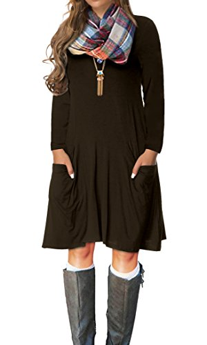 VERABENDI Women's Casual Long Sleeve Loose Pocket Dress Coffee L