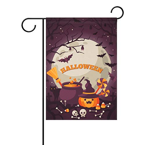 Decorative Happy Halloween Magic Candy Garden Yard Flag Banner for Outside House Flower Pot Double Side Print Polyester 28x40IN -