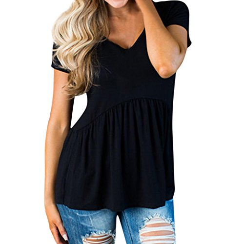 2018 New Women's T-Shirt, E-Scenery Women Basic Solid Row Pleats Ruched O-Neck Short Sleeve Tops Blouse (Black, ()