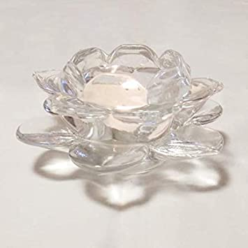 Buy Glass Lotus Flower Shaped Round Base Tealight Candle Holder Online At Low Prices In India Amazon In