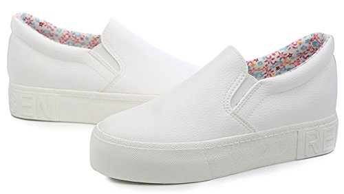 Idifu Mujeres Comfy Synthetic Platform Sneakers Hidden Heel Slip On Low Top Mocasines Blanco
