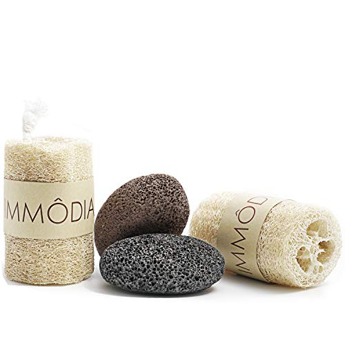 (IMMODIA Loofah Scrubber and Pumice Stone Combo 100% Natural Organic Loofah Bath Sponge Body Scrubber Natural Lava Exfoliating Pumice Stone Remove Dead Skin Pedicure Skin Care)