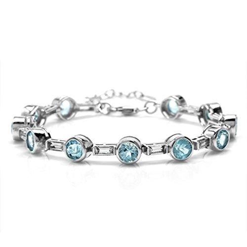 (11.22ct. Genuine Round Blue Topaz Bazel Set 925 Sterling Silver 6.75-8.25 Inch Adjustable)
