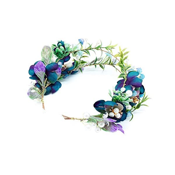 Floral Fall Wedding Bridal Succulent Flower Crown Green Leaf Eucalyptus Halo Maternity Photo Props NS03 (Dark Bue)