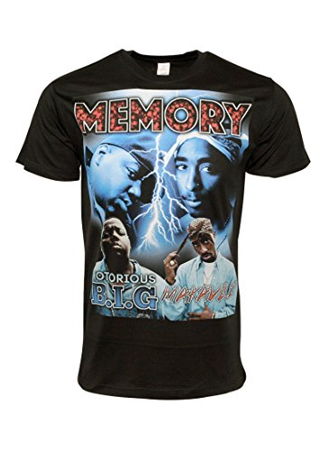FLEA ALLEY Mens Vintage Hip HOP Printed T-Shirts Biggie Tupac Memory(L, Black) by FLEA ALLEY