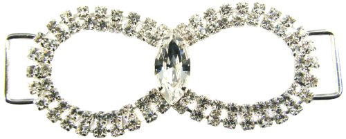Mode Beads Fancy Double Loop Rhinestone Connector, 2-6/8-Inch, Crystal/Silver - Rhinestone Connector Beads Loop