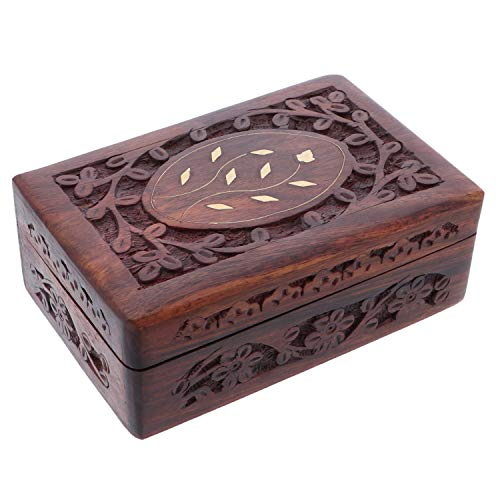 (Li'Shay Wooden Trinket Keepsake Box with Carved Flowers )