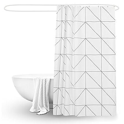 Qingv Enrejado blanco cortina baño cortina tela engrosamiento impermeable molde baño nórdico cortina del baño,