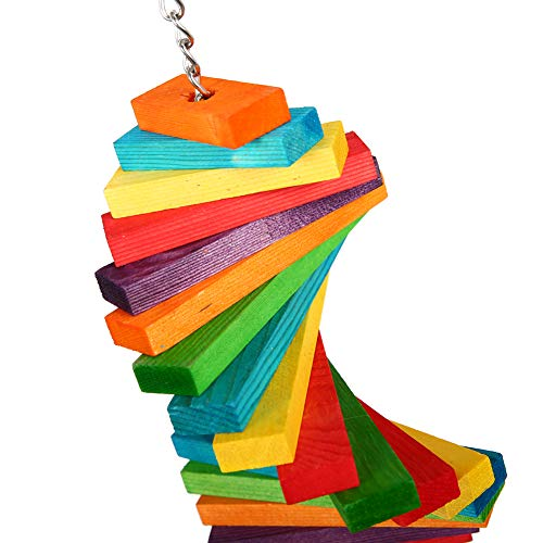 QBLEEV Bird Colorful Wooden Blocks Slats Chewing Toy, Parrot Rainbow Climbing Toy, Hanging Bird Cage Toys for Large…