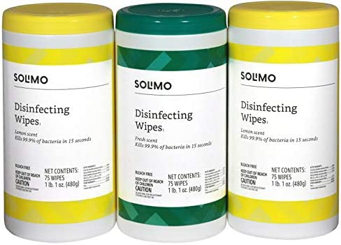 Amazon Brand Solimo Disinfecting Wipes product image