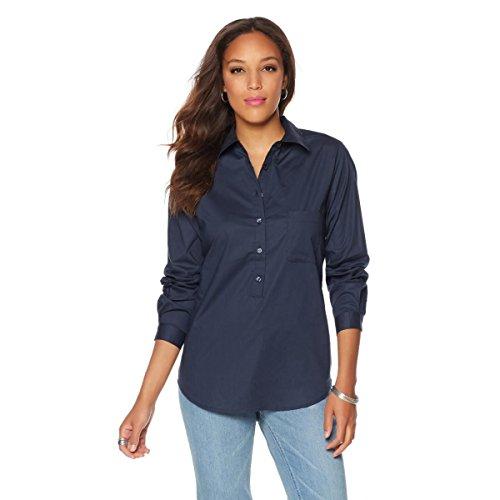 DG2 by Diane Gilman Stretch Cotton Poplin Button-Down Top Collar Navy M New 530-143 (Poplin Blouse Cotton Stretch)