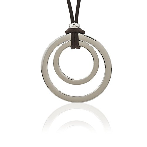 White Base Metal and Dark Brown Leather Open Circles Pendant Necklace, 17 inches