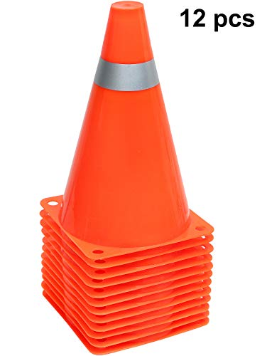 Kiddie Play 7'' Plastic Sport Training Cones Traffic & Construction Cones (12 Pack) by Kiddie Play