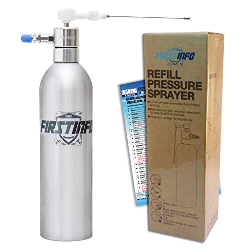 FIRSTINFO Aluminum Can Pneumatic/Manual Refillable Fluid/Oil Pressure Storage Sprayer + Jet Dual Purpose Nozzle