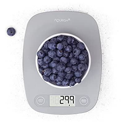 Digital Kitchen Scale/Food Scale - Ultra Slim, Multifunction, Easy to Clean, Large Display (grey) from Greater Goods