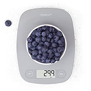 Digital Kitchen Scale / Food Scale - Ultra Slim, Multifunction, Easy to Clean, Large Display (grey)