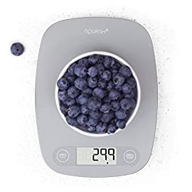 GreaterGoods Digital Food Kitchen Scale, Multifunction Scale Measures in Grams and Ounces (Ash Grey) 3 THE RIGHT CHOICE: You've found an inexpensive everyday food scale without compromise. THE FEATURES YOU NEED: 1g resolution, 11lb capacity, easy to read. See Product Description for more. BACKED BY REAL SUPPORT: The friendly team at our St. Louis headquarters is here for whatever you need.