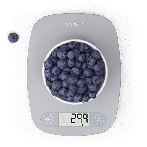 - Digital Kitchen Scale / Food Scale - Ultra Slim, Multifunction, Easy to Clean, Large Display (grey)