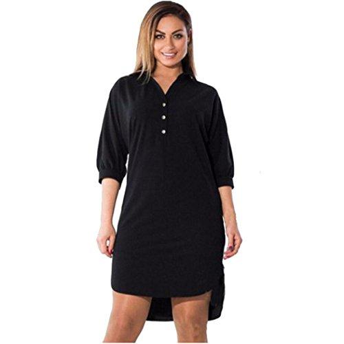 Quarter Sleeve Mini (FUNIC,Women Plus Size Summer Dress Three Quarter Sleeve Mini Dress (6X-Large, Black))