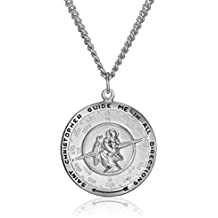 """Men's Sterling Silver Saint Christopher Pendant Necklace with Stainless Steel Chain, 24"""""""