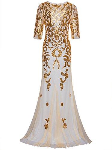 Vijiv Années 1920 Vintage Longues Robes De Bal De Mariage 2/3 Manches Robe De Soirée De Fête Sequin Or Beige