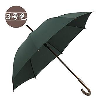 XiaoGao_ Mango solido paraguas con mango largo de color sólido,Ejército Verde