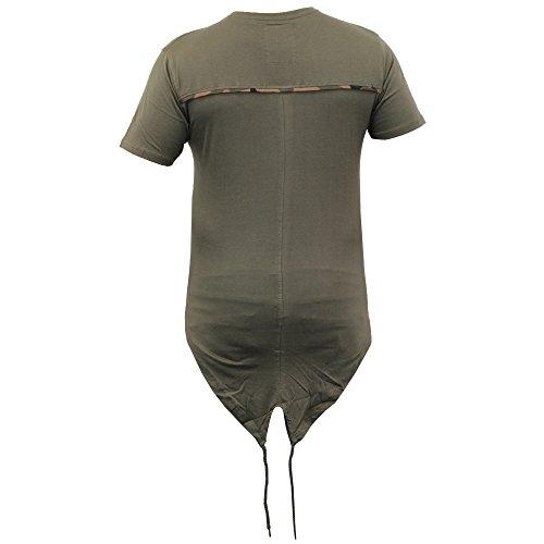Herren Lange Linie Top Mit Kapuze Tarnmuster Militär Fischschwanz T-shirts Von Soul Star - Khaki - SAWSHARKPKB, X-Large