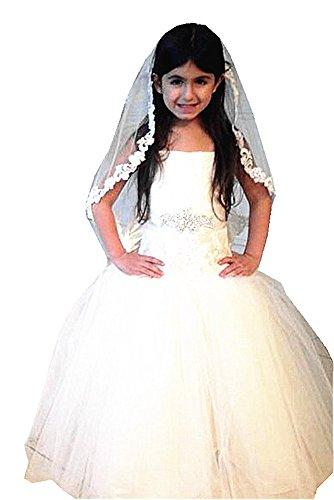 Shop Ginger Wedding Girls First Communion Veil 1 Tier White Rose Flower Lace by Shop Ginger Wedding