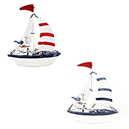5.6 Inches High Fun Nautical Decorative Wood Sail Boat Ornament with Sea Bird Seabird for Home Decoration,fully Assembled (One set of 2 pieces)