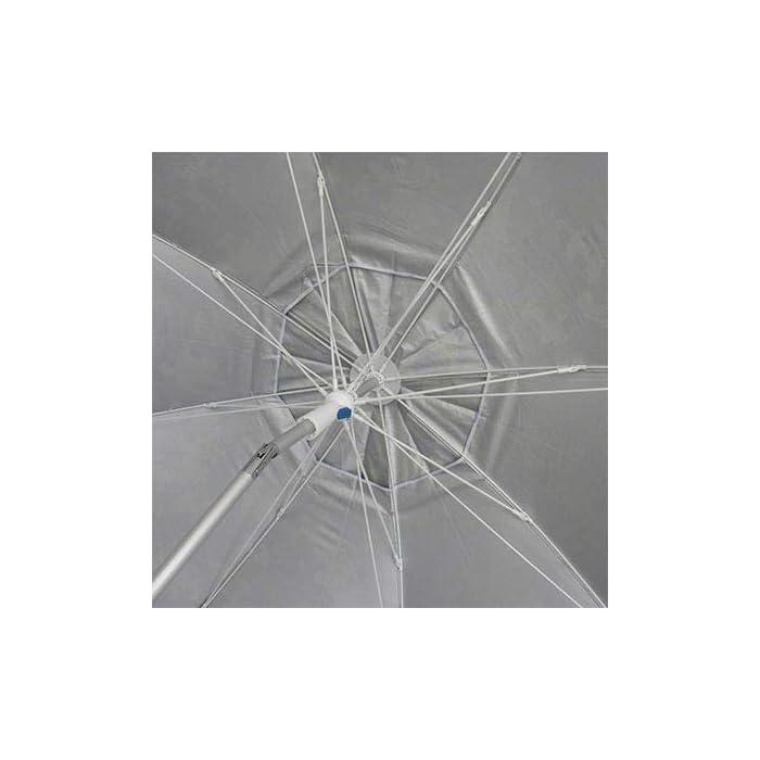 41aRS%2BXiISL Sombrilla de gran tamaño-200cm de diámetro. Resistente a vientos de hasta 35 km/h, gracias a:Protección solar UPF50+ (bloquea 99% de rayos UV). Ventana superior. Varilla elástica y resistente (fibra de vidrio de 5mm de grosor). Sistema Pincho con punta de aluminio reforzada. Muy ligera 1,5 kg – tubo de aluminio. Fácil introducción en arena en solo 30 segundos, gracias a su maneta con dos asas. Otros: inclinación a los dos lados y bolsa de transporte del mismo color de la sombrilla.