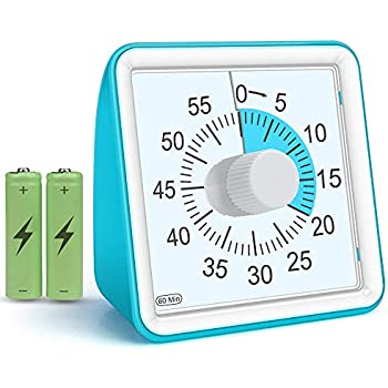 Visual Timer for Kids, Countdown Ticking Clock, 60 Minute Quiet Analog Keeper Timer for School Classroom Teaching Meeting Cooking, Time Management Tool for Children and Adults Gifts