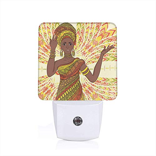 Colorful Plug in Night,Dancing Woman Hand Drawing Ethnic Geometric Ornament Colorful Print,Auto Sensor LED Dusk to Dawn Night Light Plug in Indoor for Childs Adults]()