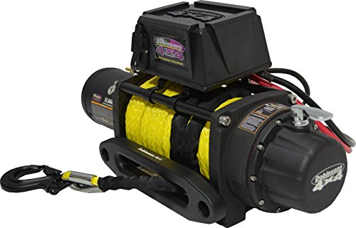 (Dobinsons 12V Electric Winch - 12,000 LBS Capacity with Synthetic Rope, Hawse Fairlead and Remote Control)