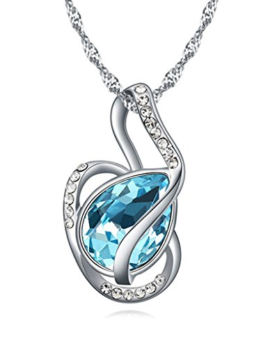 FANSING Jewelry Womens Made with Swarovski Element Teardrop Crystal Pendant Necklace for Girlfriend
