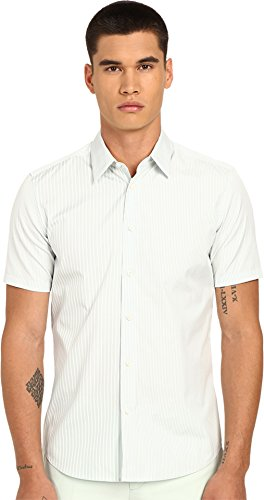 Marc Jacobs Men's Summer Stripe Slim Short Sleeve Button Up Mint Stripe 54 (US 44) by Marc Jacobs