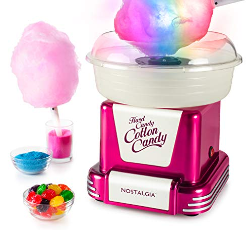 Nostalgia PCM805GRB Hard & Sugar-Free Cotton Candy Maker with Glo Cones, Raspberry w/Glowcones