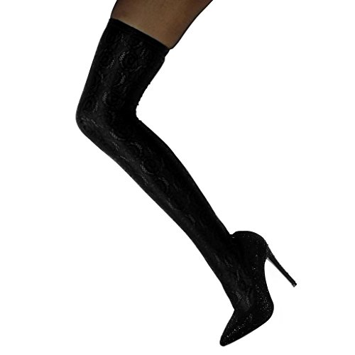 Scarponi Slip Nero Flessibile Cm 5 Alti Angkorly Ginocchio Scarpe Stiletto Stivali Alto 12 Strass Moda Tacco Donna Merletto on Sn81U00qX