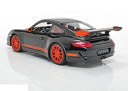 2007 Porsche GT3 RS [Welly 18015S], Negro con rayas naranjas, 1:18 Die Cast: Amazon.es: Juguetes y juegos