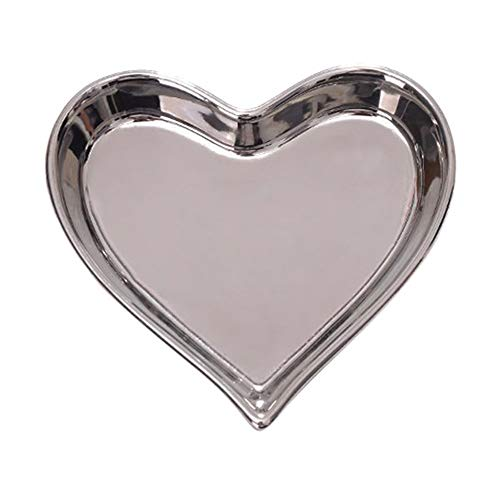 Niceroy Home Creative Irregularity Silver Mini Heart-Shaped Ceramic Plate Jewelry Lipstick Ring Necklace Earrings Candy Receive Saucer with Gold-Rimmed Sauce Dish Special Design Patterns ()