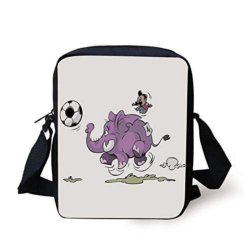 Elephant,Elephant is Playing Soccer with a Kid Moustache Sports Decor Football Print,Purple White Print Kids Crossbody Messenger Bag Purse