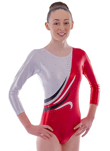 Red Flame Dance Costume (Deluxe 'Rachel' Metallic Ruby Red and White with Wave encrusted Diamante detail Sleeved Gymnastic Leotard (6-7 Years))