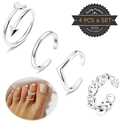 Tone Ring Silver Toe Silver (FIBO STEEL 4 Pcs Open Toe Rings for Women Girls Arrow Tail Band Toe Ring Adjustable)