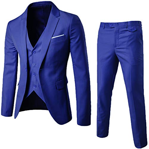 MAGE MALE Men's 3 Pieces Suit Elegant Solid One Button Slim Fit Single Breasted Party Blazer Vest Pants Set (Royal Blue, X-Small)
